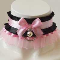 Kitten play collar - Hidden darkness - ddlg kittenplay princess kink BDSM proof choker - black and pastel pink - with bell and leash ring