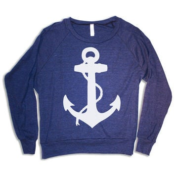 Womens ANCHOR Tri-Blend Sweatshirt Pullover - american apparel S M L (heather navy blue)
