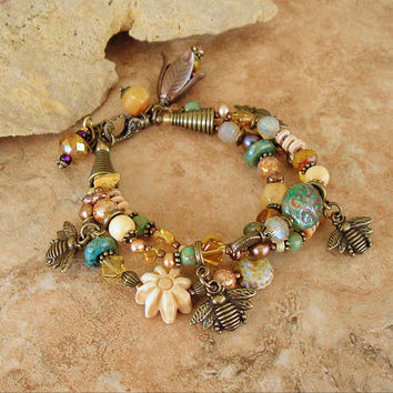 Bohemian Bracelet, Natural Bumble Bee Honey Beaded Statement Bracelet, Queen Bee Bracelet, Original Handmade Bohemian Jewelry by Kaye Kraus