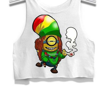 DCCK7H3 Bob Marley Reggae Dope Weed Minions Womens Crop Tank Top