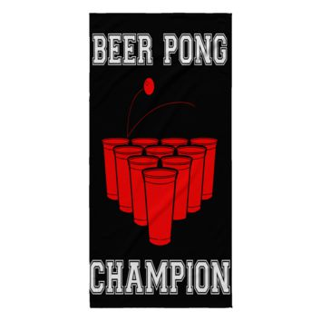 """Beer Pong Champion Beach Towel 30"""" x 62"""" Sublimated Microfiber Velour 100% Polyester (Black)"""