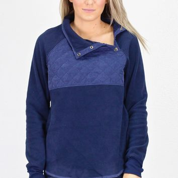 Quilted Snap Fleece Pullover {Navy}