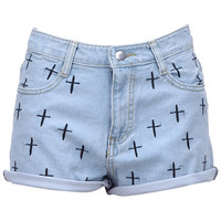 ROMWE | Cross Embroidery Light-blue Shorts, The Latest Street Fashion
