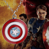 2016 New Hot Movie Film Jewelry American superhero Captain America Shield Pendant Necklace logo jewelry Star Pendant