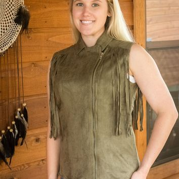 Joh Collection Aniston Fringe Moto Vest~ Olive