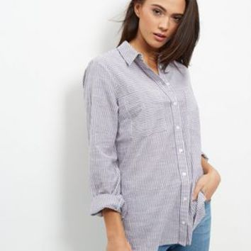 Blue Stripe Double Pocket Long Sleeve Shirt