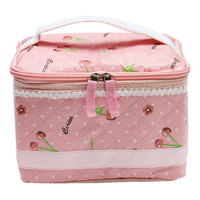 Pink Cherry Comestic Storage Bag Travel Non-woven Fabric Case