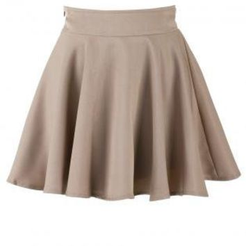 Khaki Skater High Waist Skirt