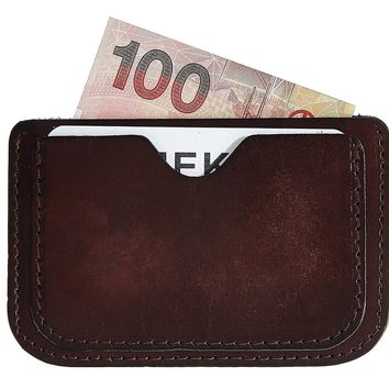 MEKU Handmade Leather Card Case Wallet Slim Super Thin 3 Card Slots Front Pocket