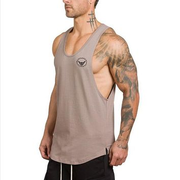 New Clothing Men's Tank Tops Low Cut Armholes Vest Sexy Tank Man Muscle Man's Fitness bodybuilding tops