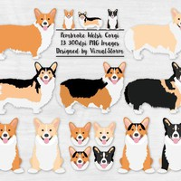 Pembroke Welsh Corgi Clipart Red and White Fawn Sable Black and Tan Tricolor Digital Dog Clipart Corgi Breeds Hand Drawn Corgi Illustrations