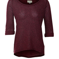 Rich Red 3/4 Sleeve Jumper
