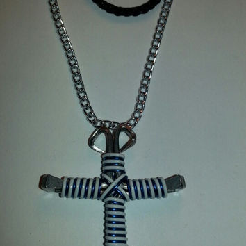 Saphire blue and white candy cane wire wrapped horseshoe nail cross necklace jewelry