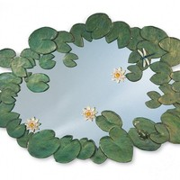 """52"""" X 33"""" Waterlilies Leaf and Flower Accented Mirror"""