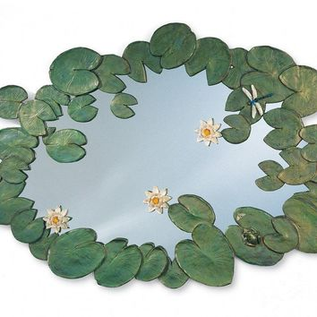 "52"" X 33"" Waterlilies Leaf and Flower Accented Mirror"