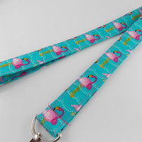 Flamingo Lanyard Bird Lanyard Turquoise Lanyard Flamingo Key Fob Flamingo Keychain Bird Key Ring Teacher Lanyard College Lanyard