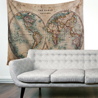 Vintage Boho Old World Map Unique Dorm Home Decor Wall Art Tapestry