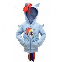 My Little Pony Rainbow Dash Face Kids Sky Blue Costume Hoodie Sweatshirt with Mane, Wings and Tail - My Little Pony - | TV Store Online