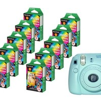 Fujifilm Instax Mini 8 Blue Camera + Mini Rainbow Colored Border 100 images