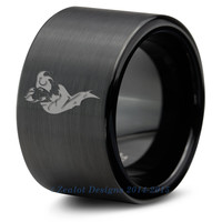 Joker Harley Quinn Tungsten Wedding Band Ring Mens Womens Brushed Pipe Cut Black Fanatic Geek Anniversary Engagement