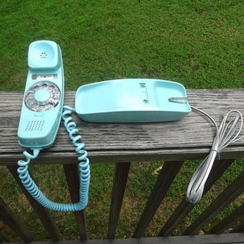 1970s Vintage Trimline Rotary Dial Telephone in Turquoise by Western Electric, Bell System, Vintage Telephone for Home Decor, Old Technology