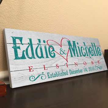 Personalized Family Established Sign, in Pallet Wood Design Background