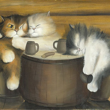 Happy Life N1  Kitten / Cat Art  Print from Original by Mysoulfly