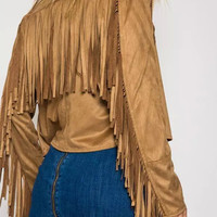 Khaki Long Sleeve Fringed Cropped Coat