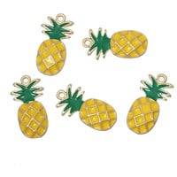 "DoreenBeads Zinc Alloy Fruit Charm Pendants Pineapple Gold Plated Yellow Enamel 23.0mm( 7/8"") x12.0mm( 4/8""), 2 PCs 2016 Hot New"