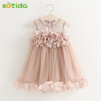Sotida Girls Dresses 2018 Sweet Princess Dress Baby Kids Girls Clothing Wedding Party Dresses Children Clothing Pink Applique