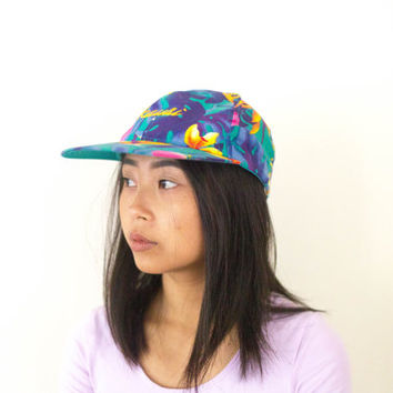 90s hawaiian floral hat, vtg colorful baseball cap, 1990s accessories kauai, hawaii, american apparel, tumblr, kawaii, vaporwave aesthetic