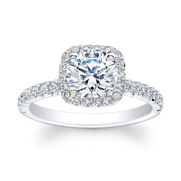 Ladies 18kt white gold French pave diamond cushion halo engagement ring 0.35 carats G-VS2 diamonds and 1.50ct Round White Sapphire Ctr