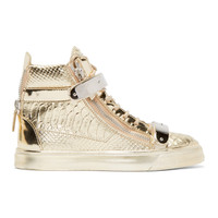 Gold Snake-Embossed London High-Top Sneakers