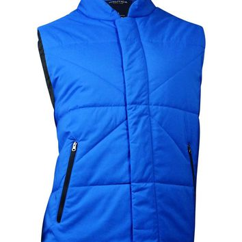 Nautica Men's Quilted Full-Zip Vest (L, Crest Blue)