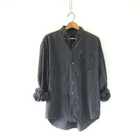 20% OFF SALE Vintage washed out and faded Black Gray Denim Shirt. Long Sleeve Jean Shirt. Oversized Button Up Boyfriend Shirt.