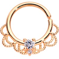 "16 Gauge 5/16"" Clear CZ Gem Rose Gold Plated Seamless Circular Ring"