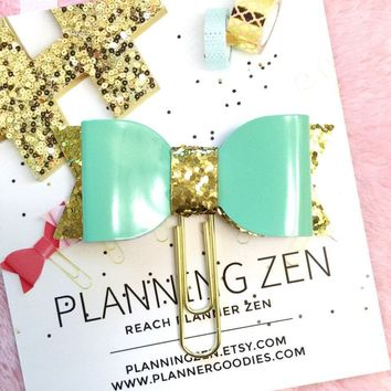 Shiny Mint Green Bow Planner Clip Green/Mint Faux Patent Leather with Gold Glitter Bow