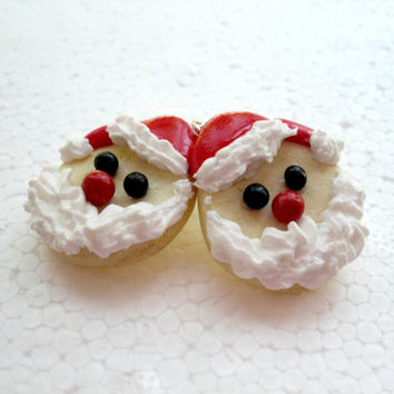 Santa Clause Cookie Earrings. Polymer Clay.