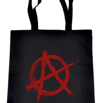 Red Anarchy Tote Book Bag School Goth Punk Rock Deathrock