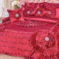 DaDa Bedding Victorian Floral Ruby Apple Red Bejeweled Ruffles Comforter Set, King, 5-PCS (BM8086)