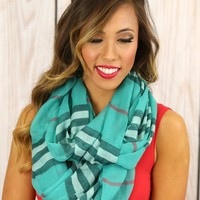 Now or Nova Plaid Infinity Scarf in Teal