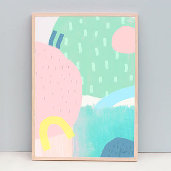 Large Minimal Modern Art, Nursery Art, Minimalist Art Print, Pastel Color Art, Abstract Painting, Contemporary Print, Spring Color Art