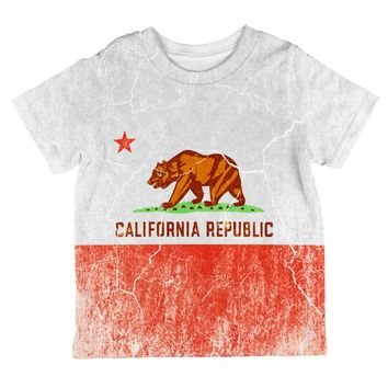 California Vintage Distressed State Flag All Over Toddler T Shirt