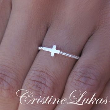 Celebrity Style Sideways Cross Ring  - Sterling Silver With Platinum Overlay or Solid 10K White Gold