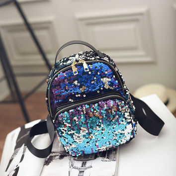 All-match Bag Leather Sequins Backpack Girls Small Travel Princess Bling