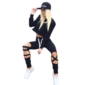 Gagaopt 2016 Sexy Style 2 Piece Set Women Black Pants and Crop Top Suit Fashion Hollow Out Letter Print Sportswear Tracksuit