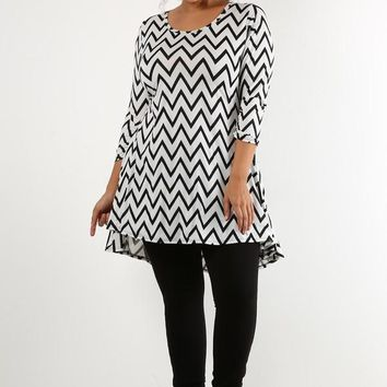 Chevron Black and white blouse