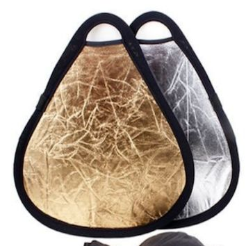 Portable Hand Held Triangle Reflector Gold and Silver 12 Inch - PRS6011C