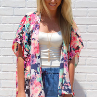 Love At First Floral Kimono-Black