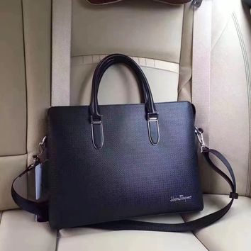FERRAGAMO MEN'S NEW STYLE LEATHER BRIEFCASE BAG